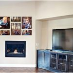 media room displaying family photography art pieces