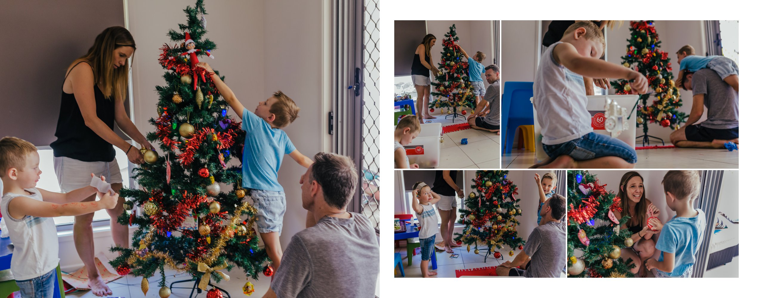 Picture-of-photo-album-page-showing-family putting-up-the-xmas-tree