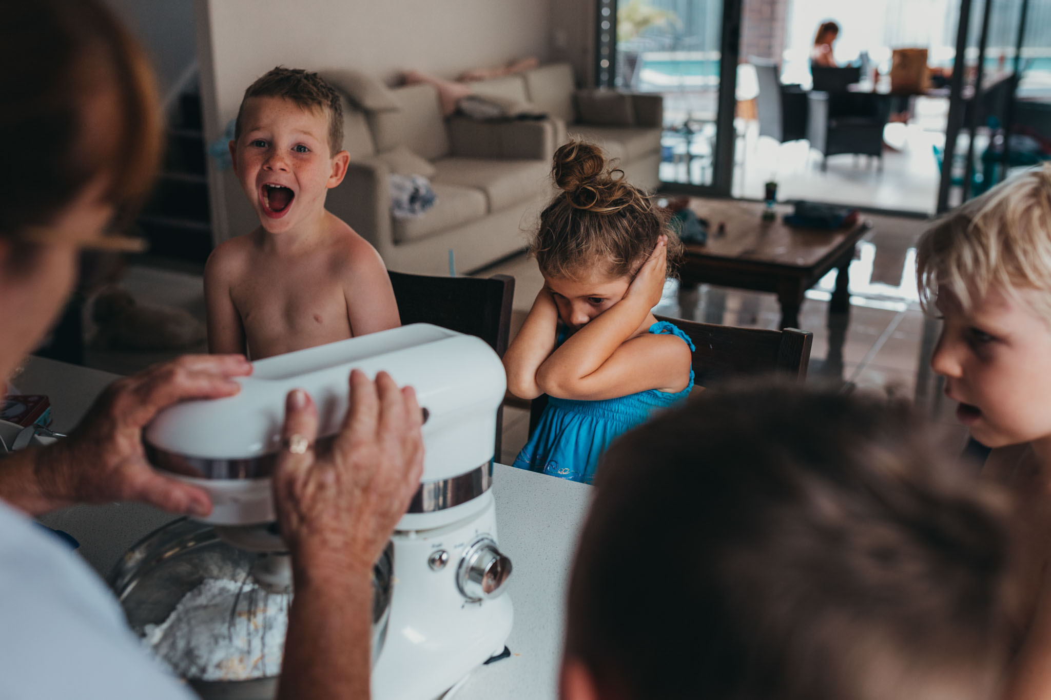 children-react-to-loud-blender-by-covering-ears-and-screaming-when-baking-cookies-with-grandma-gold-coast-family-documentary-moment