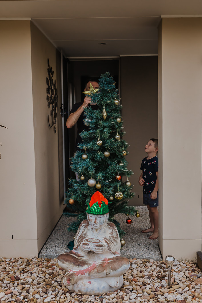 family placing the outside Christmas tree so neighbours can see it