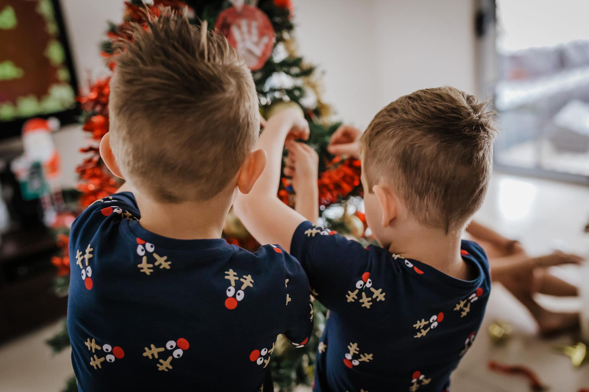 2 young brothers standing side by side as they hang Christmas decorations onto the xmas tree